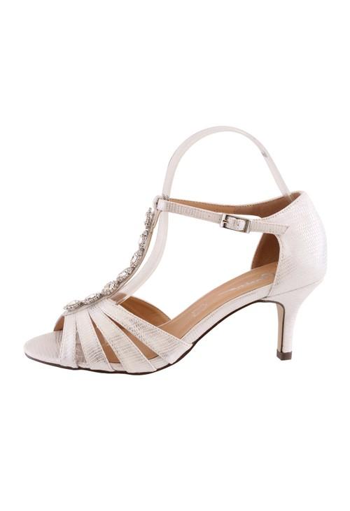 Barino Silver Kitten Heel T Strap Peep Toe