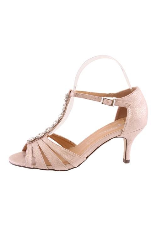 Barino Rose Gold Kitten Heel T Strap Peep Toe