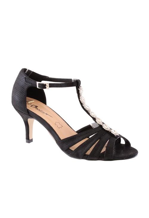 Barino Black Kitten Heel T Strap Peep Toe