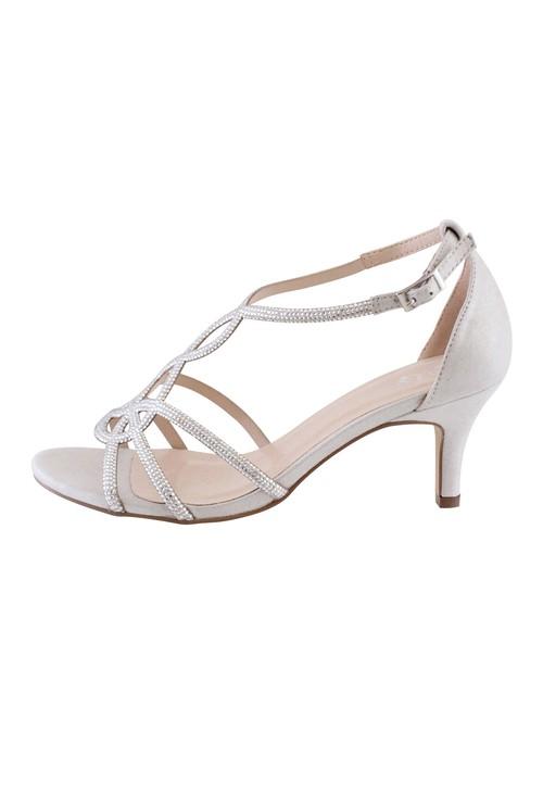 Barino Silver Kitten Heel Rope Pattern Shoe