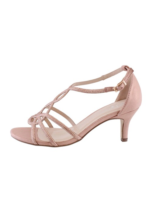 Barino Rose Gold Kitten Heel Rope Pattern Shoe