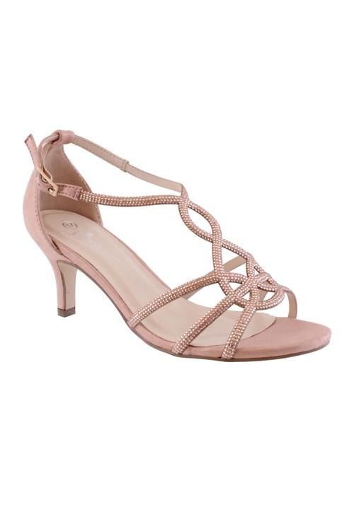 Barino Rose Gold Kitten Heel Rope Pattern Shoe