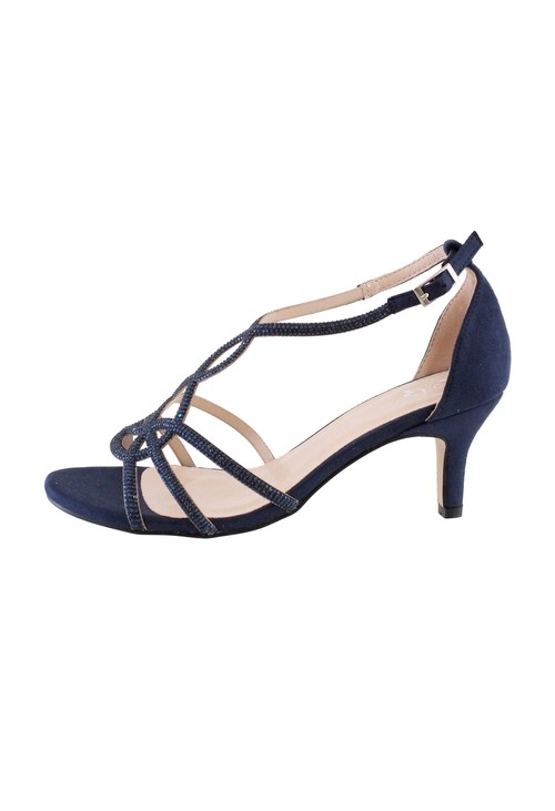 Barino Navy Kitten Heel Rope Pattern Shoe