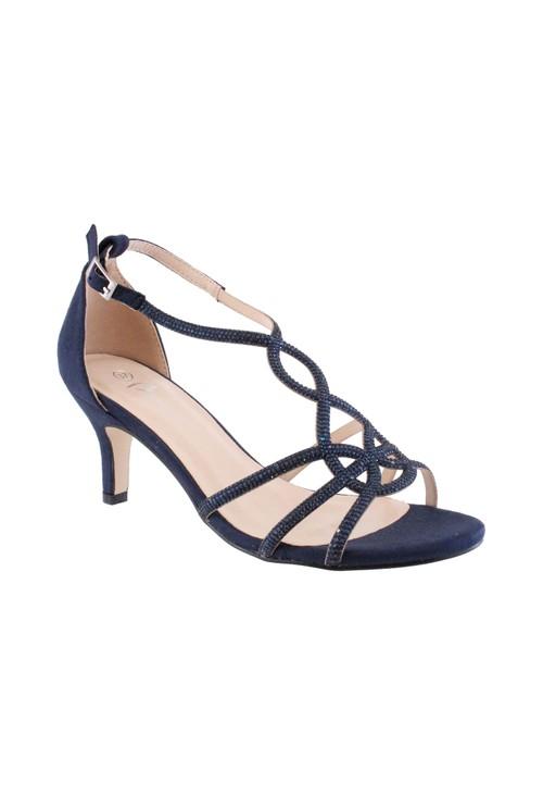 Barino Navy Kitten Heel Rope Pattern Shoe