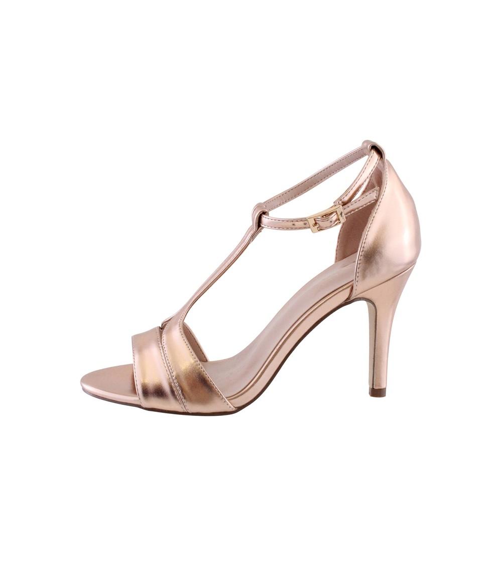Barino Rose Gold High Heel T Strap Shoe
