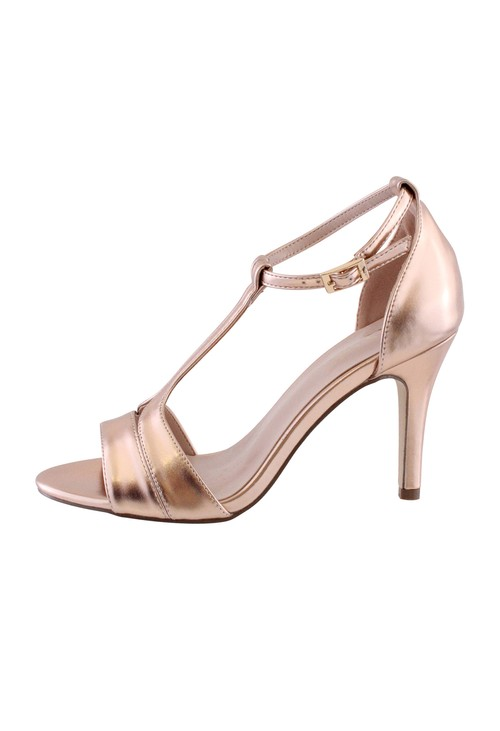 Barino Rose Gold High Heel T Strap Shoe