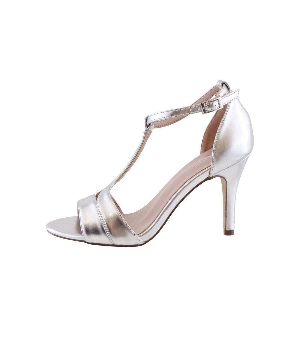 Barino Silver High Heel T Strap Shoe