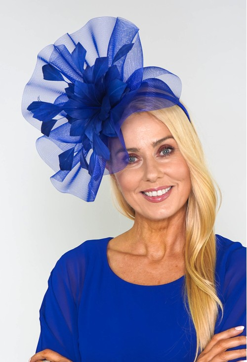 Maddox Royal Blue Flower Detail Fascinator