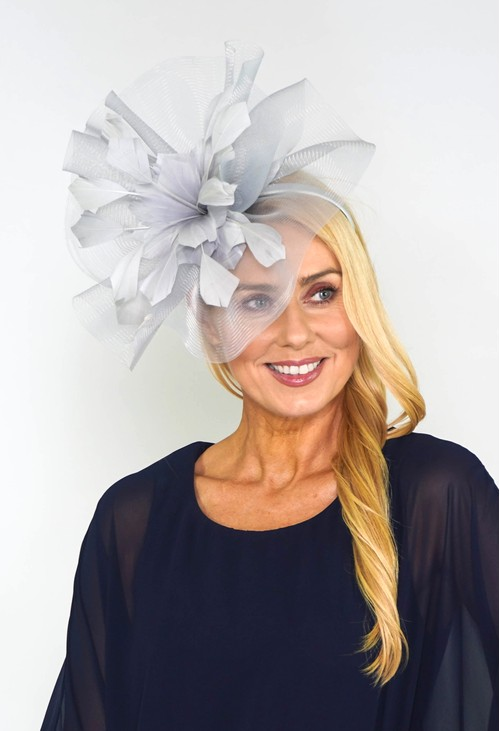 Maddox Grey Flower Detail Fascinator