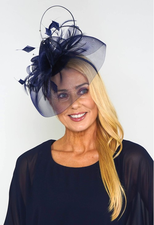 Maddox Navy Mesh and Feather Fascinator