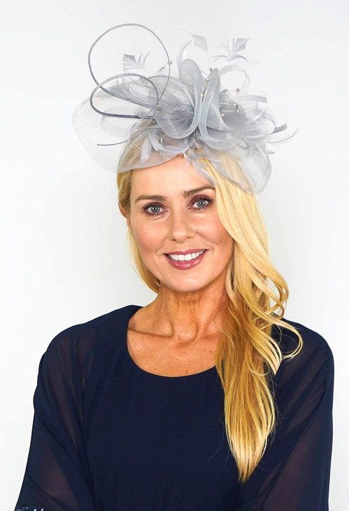 Maddox Grey Mesh and Feather Fascinator