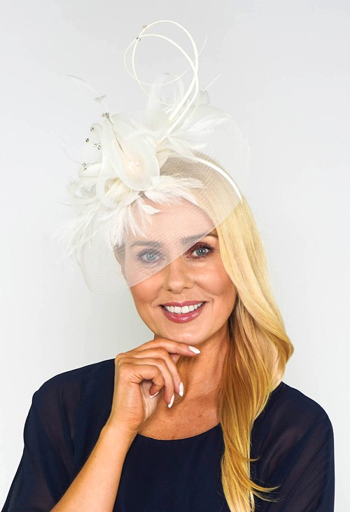 Maddox Ivory Mesh and Feather Fascinator