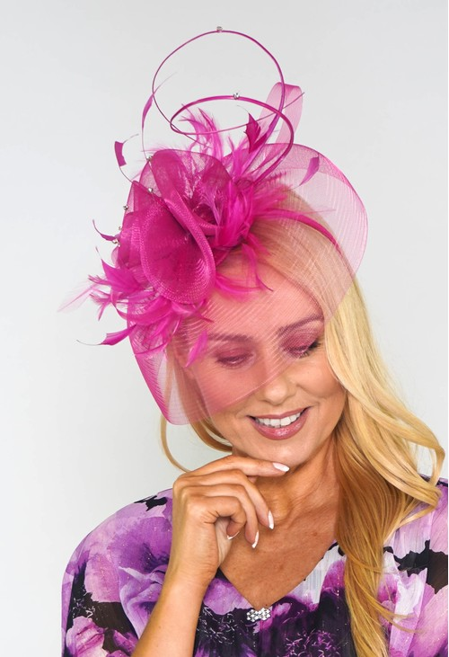Maddox Fuschia Mesh and Feather Fascinator