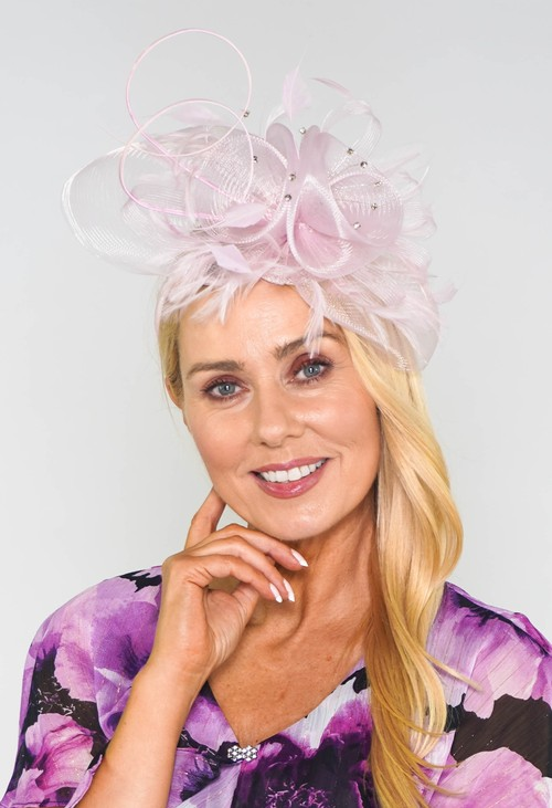 Maddox Pale Pink Mesh and Feather Fascinator