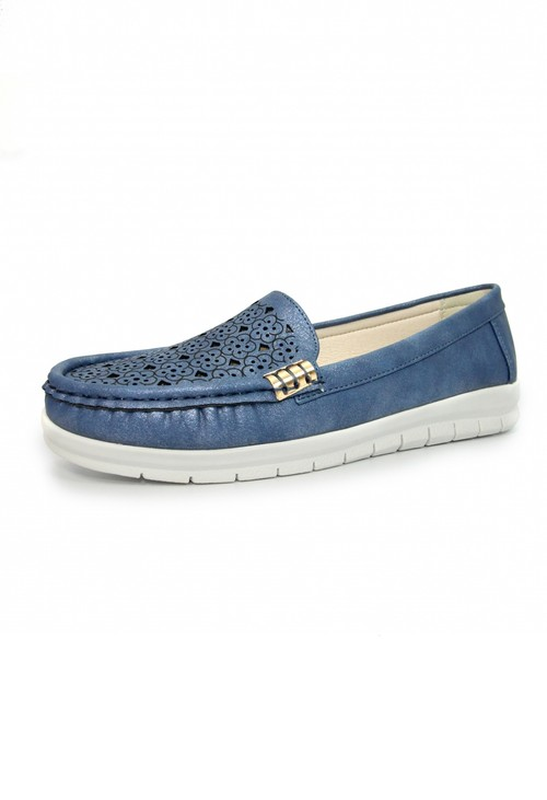 Lunar Blue Decorative Moccasin Shoe