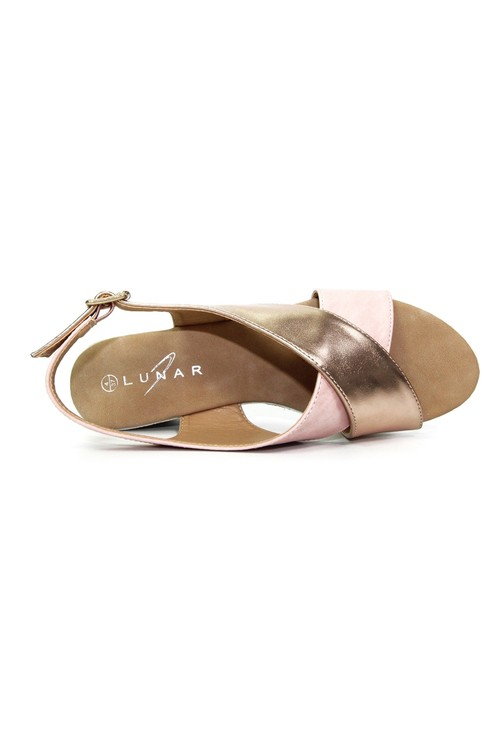 Lunar Pink & Rose Gold Cross Strap Wedge Sling Back