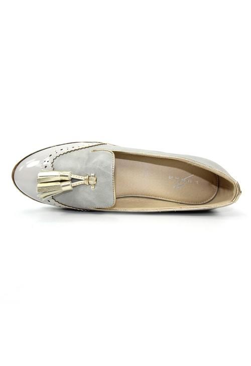 Lunar Light Grey Loafer Tassel Slip on Shoe