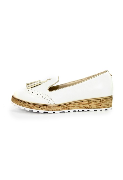 Lunar White Loafer Tassel Slip on Shoe