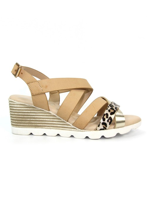 Lunar Beige Low Wedge Strap Shoe with Animal Print Detail