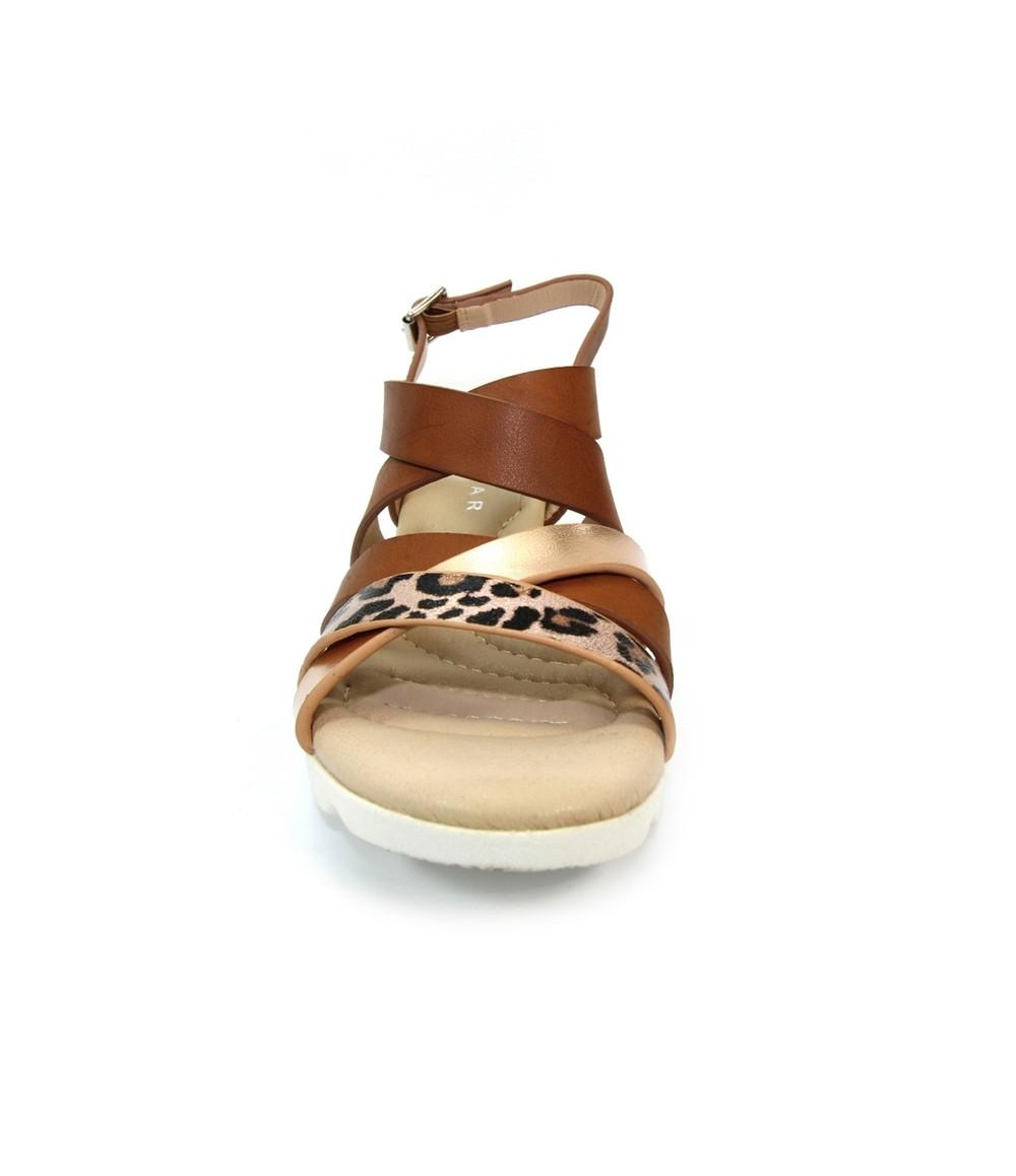 Lunar Brown Low Wedge Strap Shoe with Animal Print Detail