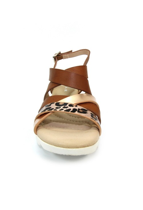 Lunar Brown Low Wedge Strap Shoe with Animal Print Detail