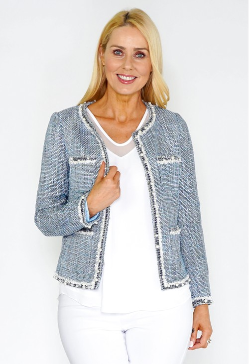 Pamela Scott Blue Boucle Style Tweed Jacket