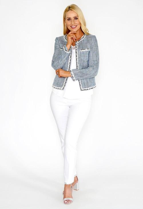 Pamela Scott Blue Boucle Style Tweed Jacket