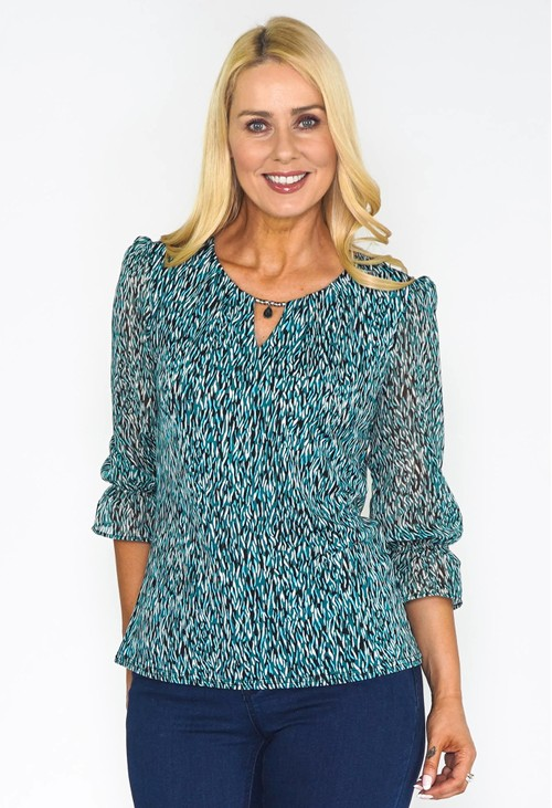 Zapara Detailed Neckline Blouse