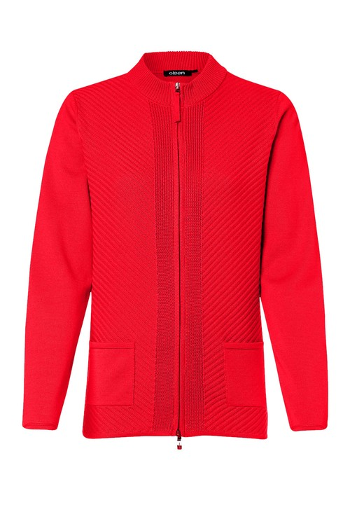 Olsen SPICY RED RIBBED WAFFLE CARDIGAN