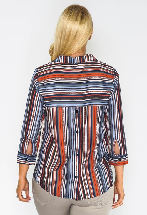 Sophie B Abstract Striped Blouse