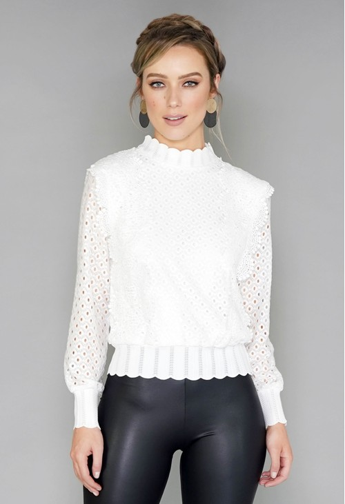 Pamela Scott White Crochet Jumper