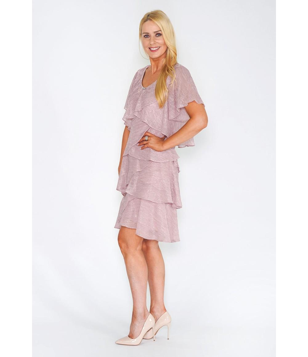 Pamela Scott Pink Tiered Shimmer Dress