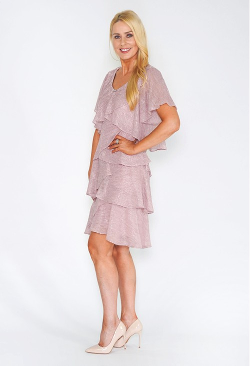 Pamela Scott Pink Tiered Shimmer Dress