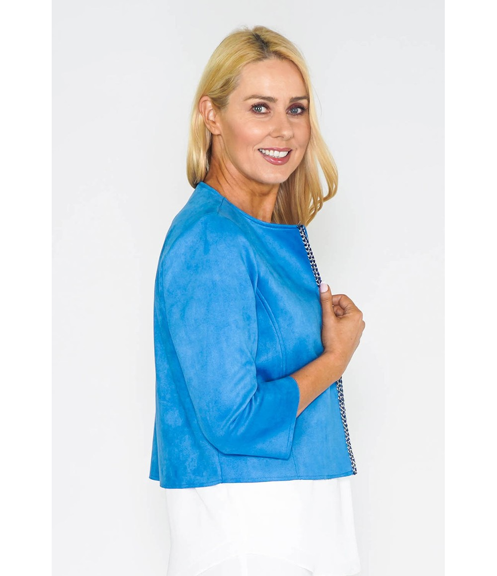 Zapara Blue Embroidered Trim Suede Jacket