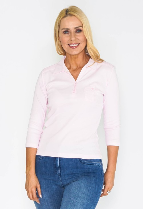 Twist Pink Button Up Polo Top