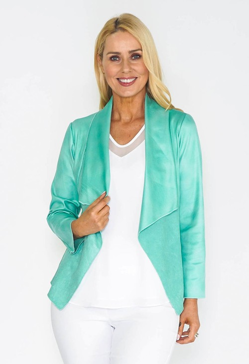 Sophie B Green Waterfall Suede Jacket