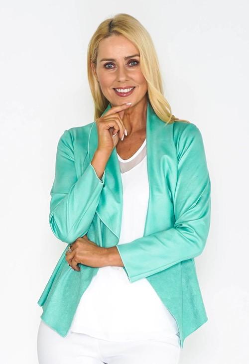 Sophie B Green Waterfall Suede Jacket