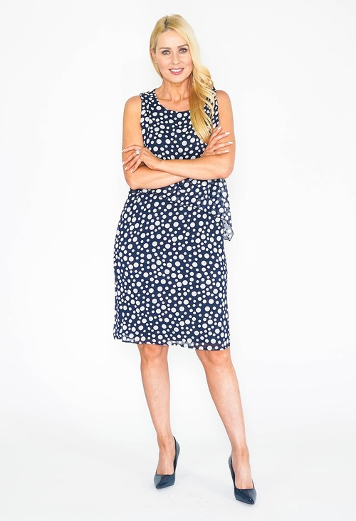 Zapara Layered Navy Polka Dot Dress