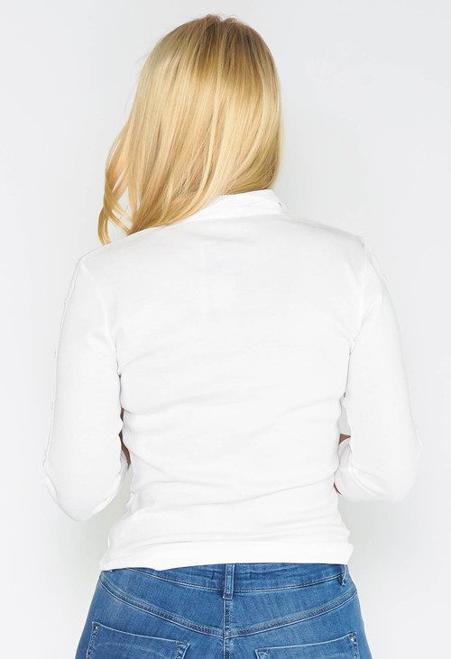 Twist White Buttoned Sleeve Polo Top