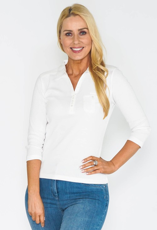 Twist White Buttoned Up Polo Top