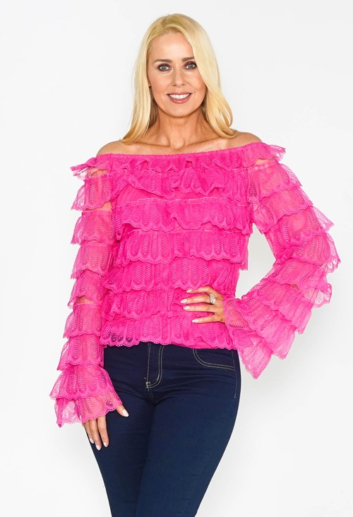 Pamela Scott Pink Ruffle Off the Shoulder Top