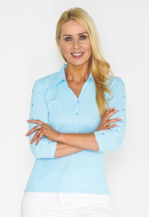 Twist Blue Buttoned Sleeve Polo Top