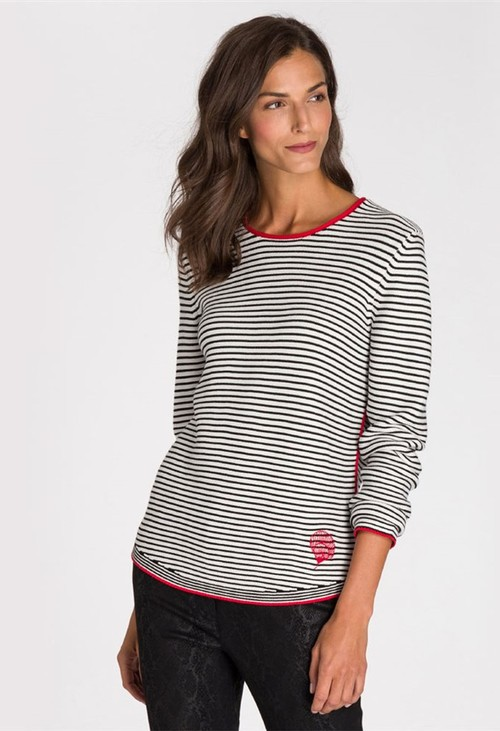 Olsen STRIPED JUMPER OFF WHITE