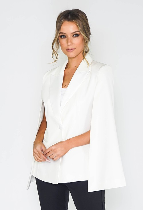 Pamela Scott White Cape Blazer