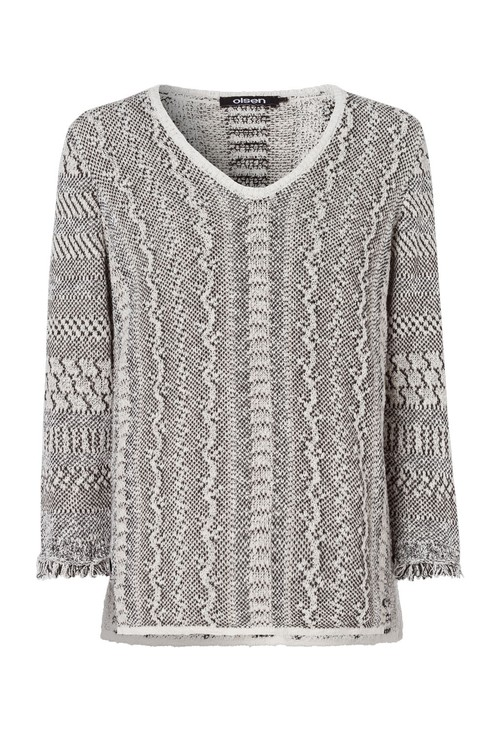 Olsen V NECK JUMPER WITH SNAKE PRINT DESIGN BEIGE