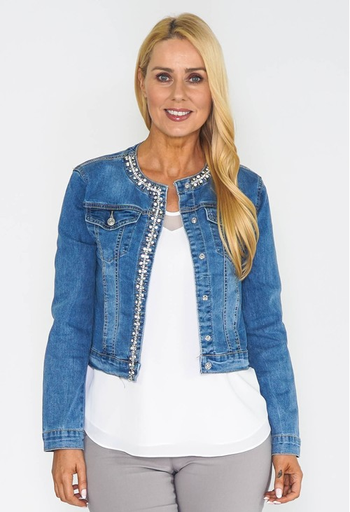 Pamela Scott Diamonte Detailed Denim Jacket