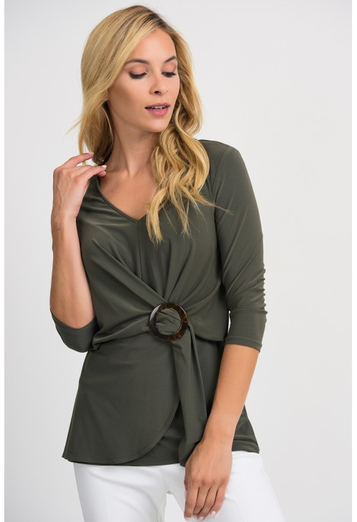 Joseph Ribkoff Avocado Draped Tunic