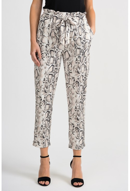 Joseph Ribkoff Cropped Snake Print Trousers