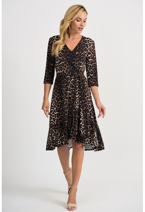 Joseph Ribkoff Leopard print wrap dress