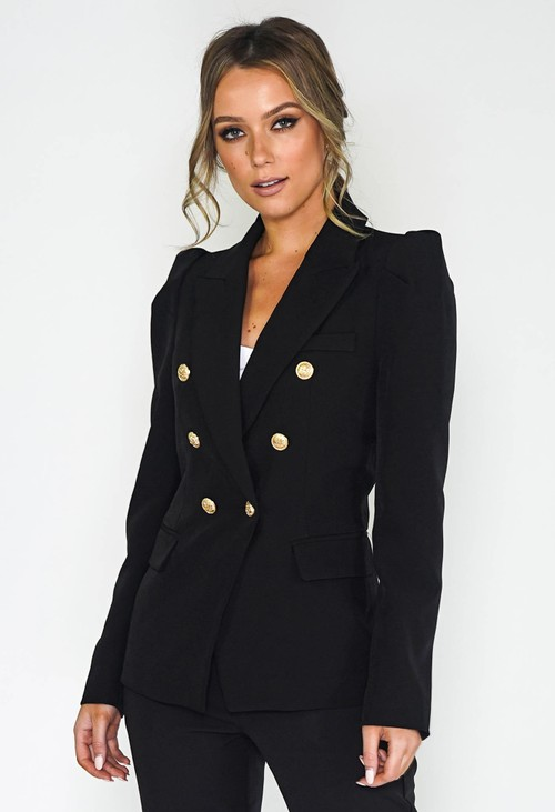 Pamela Scott Black PUFF SLEEVE BLAZER